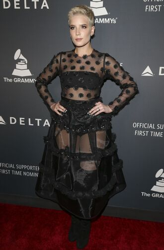 dress halsey see through black dress black shoes polka dots see through dress red carpet dress