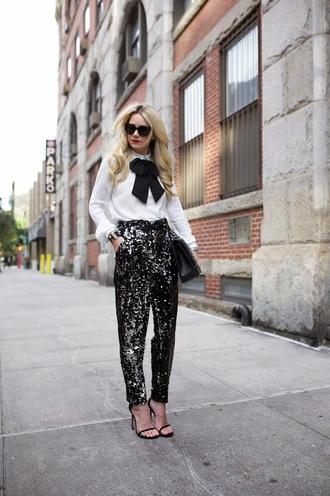 atlantic pacific blogger bag sunglasses bows blouse sparkle office outfits