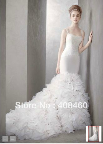 Aliexpress.com : Buy Georgette Mermaid Gown with Dramatic Organza Skirt Style VW351136   Bridal Wedding Dress from Reliable gown cotton suppliers on comein
