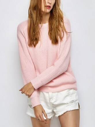 sweater pink fashion style trendy light pink knitwear long sleeves winter sweater zaful