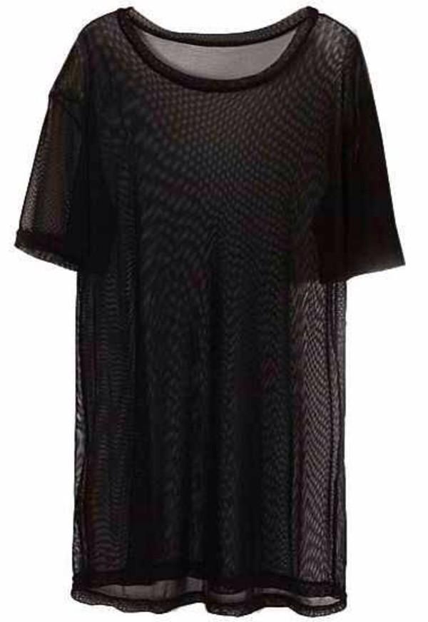 t-shirt black mesh tshirt black