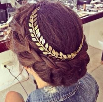 hat hair hair accessory brunette gold hippie headband greek goddess beautiful braid hair band hair clip gold leaves flowers flower hair