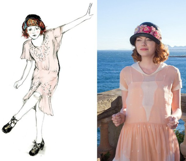 hat emma stone vintage flowers dress