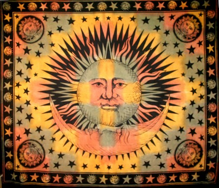 TrippyStore.com - Orange - Sun And Moon - Tapestry