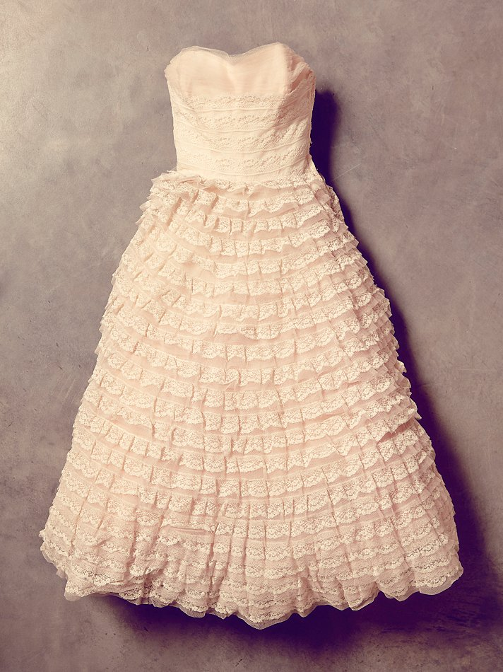 free people womens vintage pink tiered lace dress