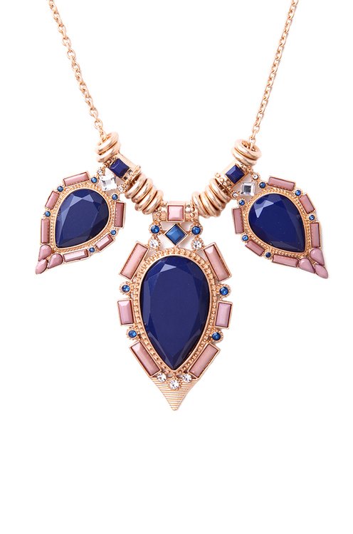 Large Stone Necklace in Blue Pink