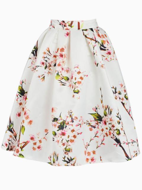 White Sakura Skater Skirt With Pleat | Choies