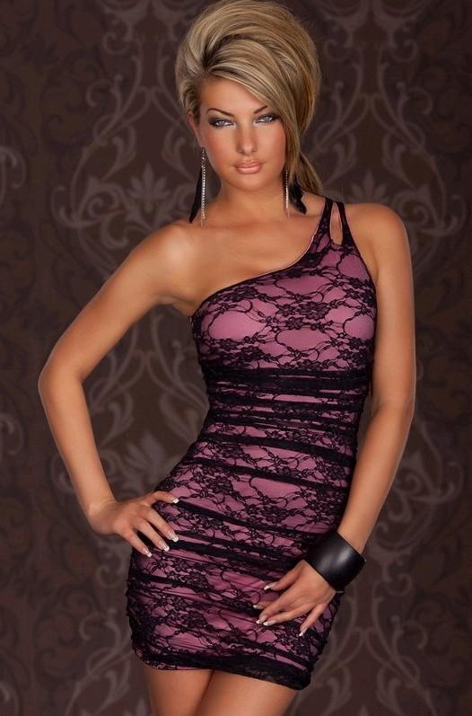 New Sexy Club Lace One Shoulder Cocktail Party Mini Dress Black Purple | eBay