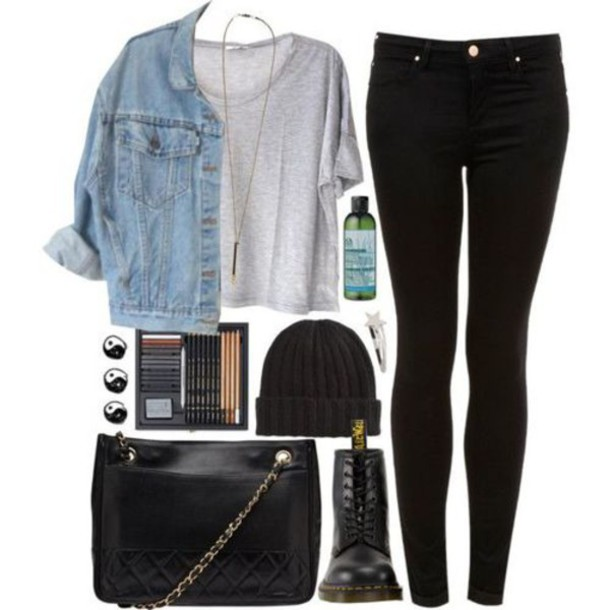 jacket jeans blue jacket t-shirt bag jewels necklace jewelry blouse black grunge shoes boots
