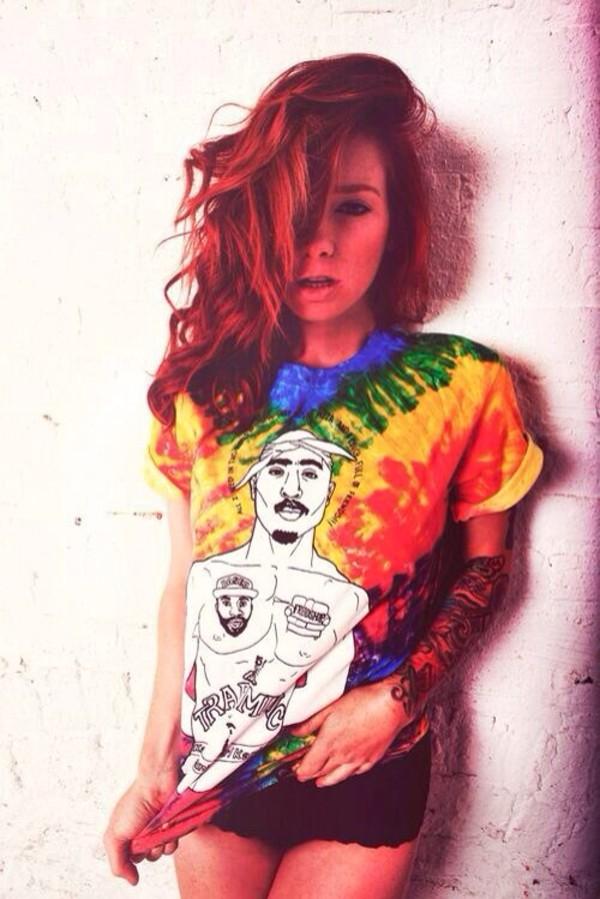 shirt tie dye t-shirt grunge streetstyle streetwear tattoo dope swag blouse tie dye t-shirt t-shirt t-shirt tie dye hipster rainbow tupac tupac shirt tupac top tupac shakur