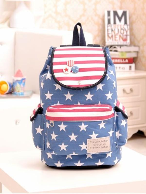 bag backpack vintage style stars stripes women girl back to school