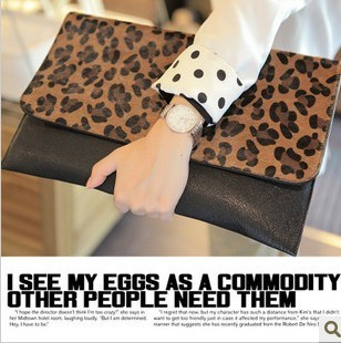 2013 leopard clutches bags fashion leopard print bag horsehair day clutch evening bag handbag women bag fringe-inEvening Bags from Luggage & Bags on Aliexpress.com