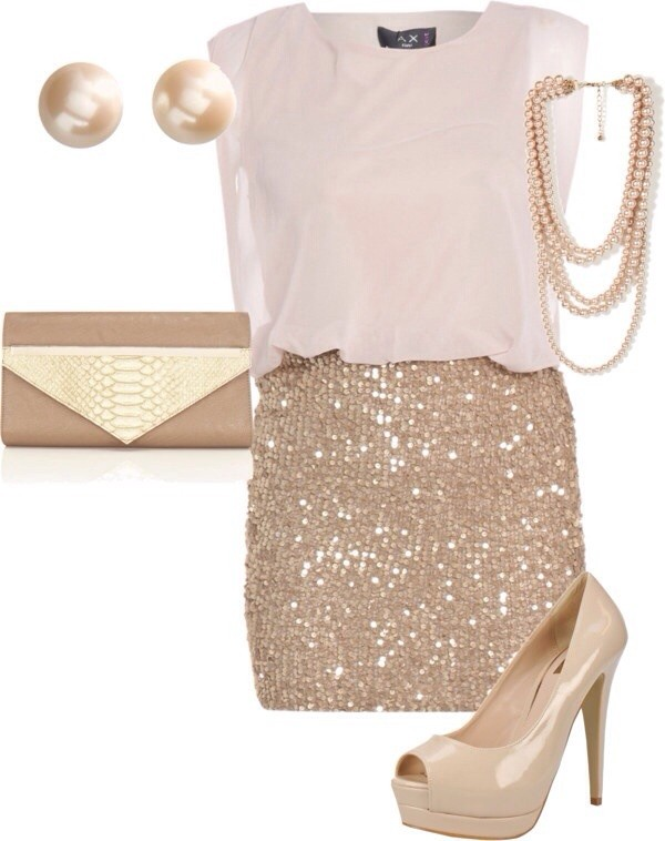 skirt sparkle cream blouse sequin skirt clutch jewelry