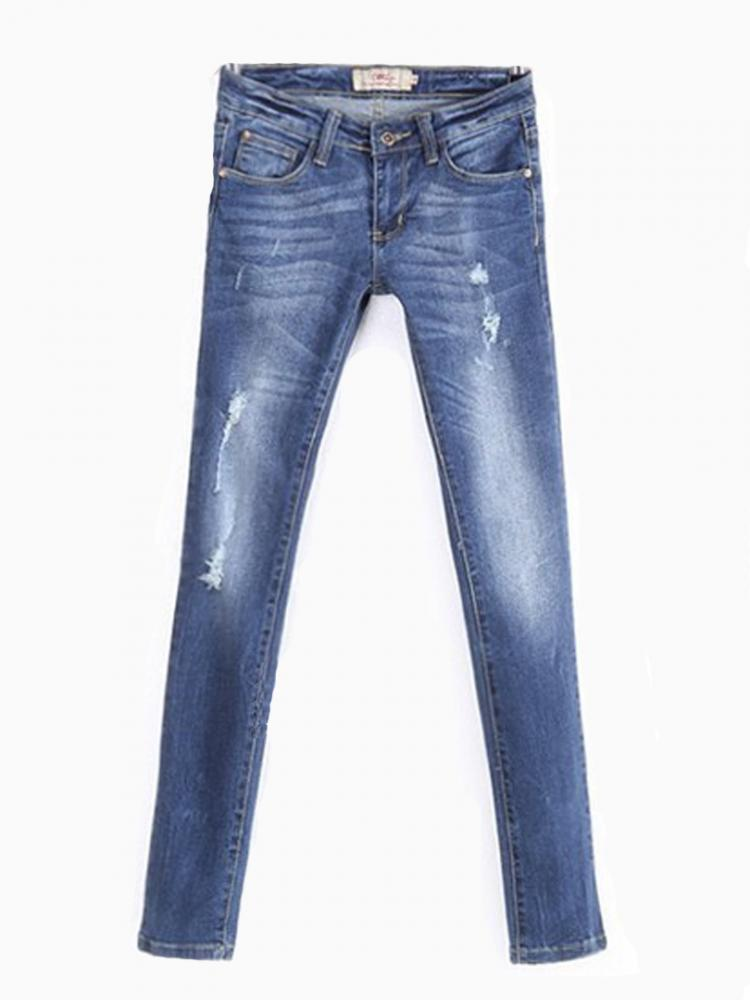 Blue Skinny Jeans with DIY White   Choies