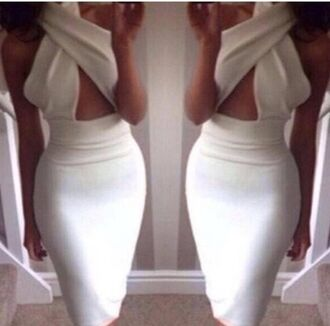 dress sexy dress white dress bodycon dress cross sexy dress waist cut dress bandage dress backless dress