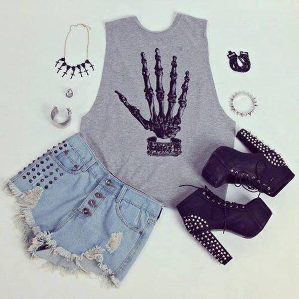 tank top skeleton cute shoes shirt t-shirt grey rock bones grunge punk