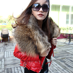 Online Shop new arrival 2014 winter suger large real raccoon fur collar sheepskin genuine leather jacket short slim genuine leather coat 40 Aliexpress Mobile