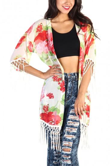 LoveMelrose.com From Harry & Molly | Floral Fringe Kimono - Ivory
