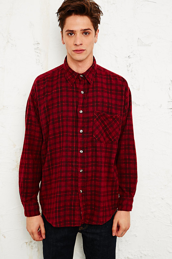 Vintage Renewal Overdyed Plaid Flannel Shirt - Urban Outfitters