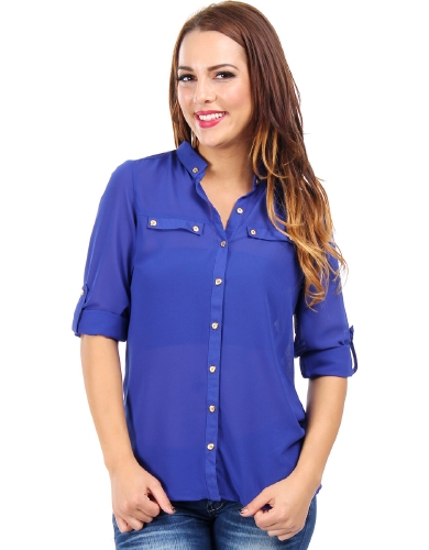 Classic Chic Chiffon Button Down Royal Blue