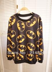 Harajuku de batman el patrón de logotipo impreso jerseys sudaderas de la mujer 2013 caída de largo  manga