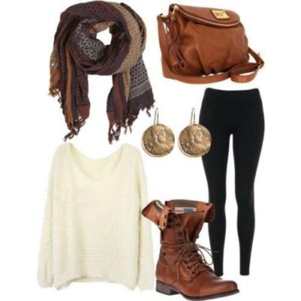 sweater oversized sweater scarf leggings earrings bag jeans jewels shoes '