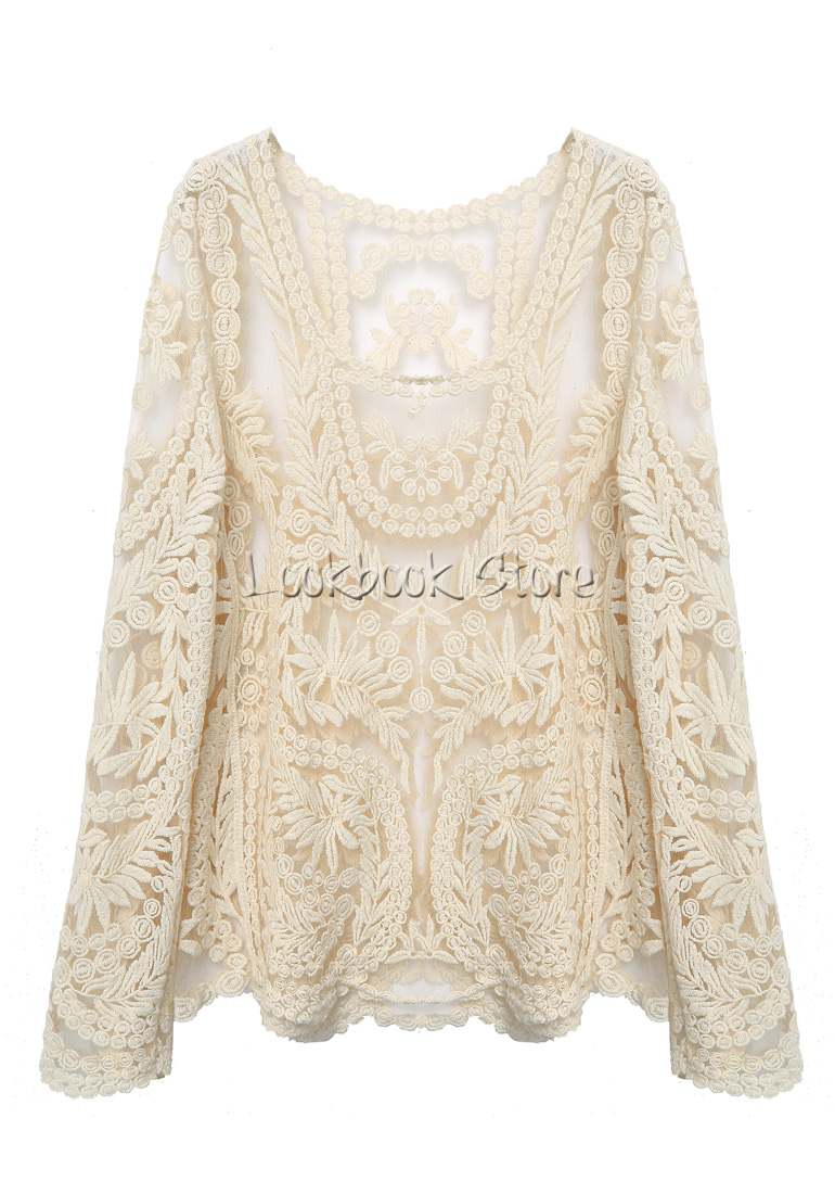 Women Semi Sexy Sheer Long Sleeves Embroidery Floral Lace Crochet Top Blouse   eBay