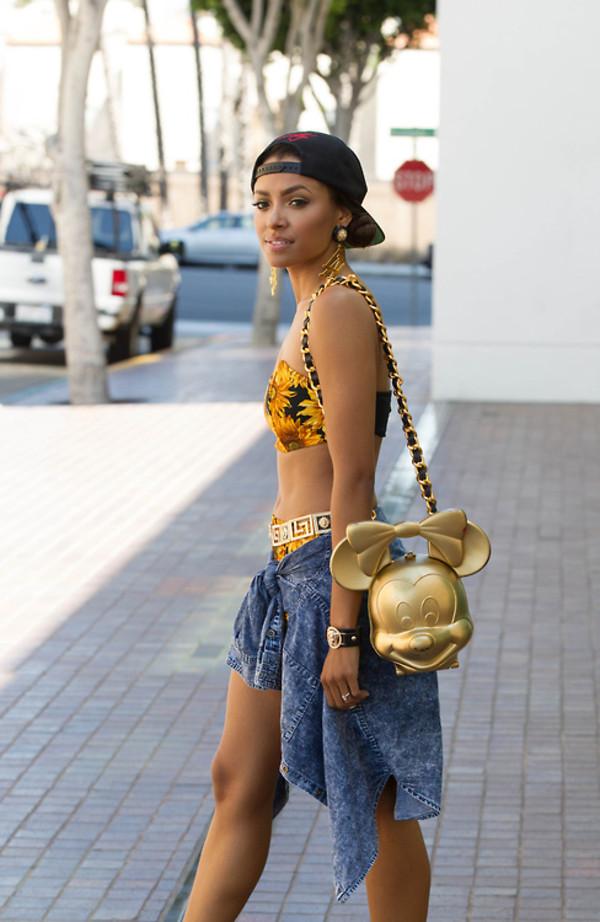 bag bandeau minnie mouse denim cardigan blouse coat shirt gold black t-shirt purse skirt