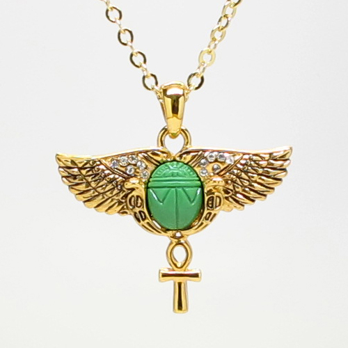 Egyptian Amulet Green Scarab Wings Necklace Fashion Jewelry Alloy Gold Tone | eBay