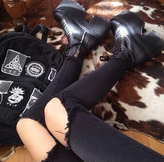 bag backpack black backpack embroidered black all black everything grunge grunge wishlist style trendy boots black boots skinny jeans black skinny jeans blogger soft grunge edgy alternative punk goth hipster goth rock on point clothing shoes jeans black ripped jeans