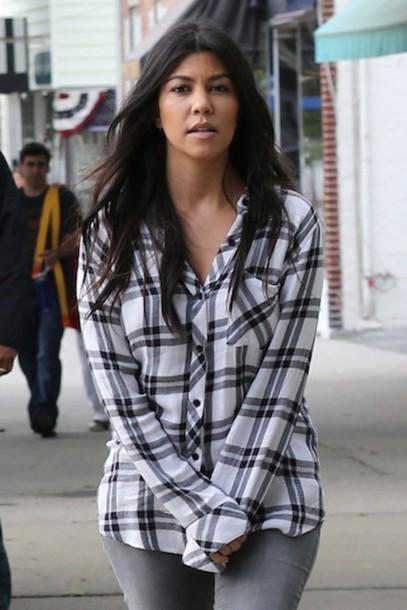flannel kourtney kardashian flannel shirt
