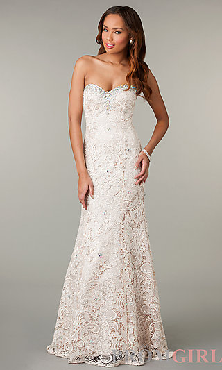 Prom Dresses, Celebrity Dresses, Sexy Evening Gowns - PromGirl: Lace Strapless Sweetheart Formal Dress