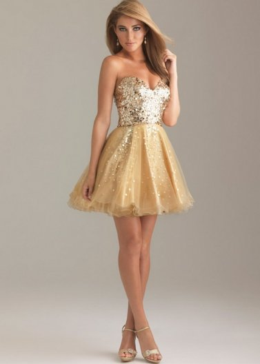 Gold Sparkly Sequin Top Short A Line Strapless Prom Dress 2014 [Night Moves 6498 Gold] - $165.00 : Prom Dresses 2014 Sale, 70% off Dresses for Prom