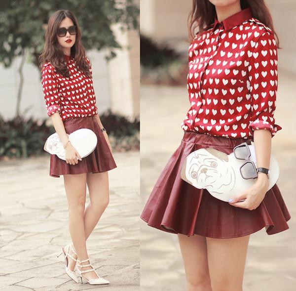 shirt red heart red heart shirt long sleeve shirt red shirt