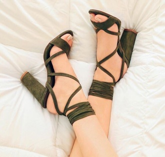 shoes green heels green heels strappy heels high heels pretty lace up velvet pink cute dope olive green cute high heels chunky heels olive green heels open toes suede green shoes chunky tie up black velvet heels