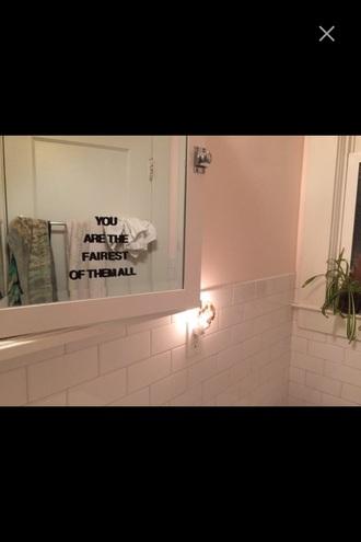 home accessory home decor mirror stickers snow white fairest of them all disney princess bathroom bathroom goals