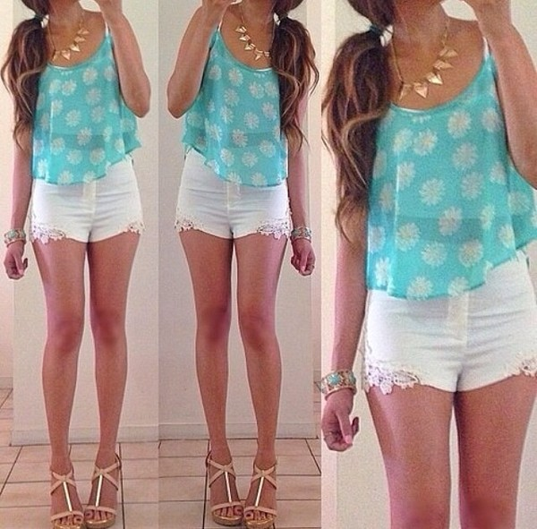 tank top blouse shorts summer summer outfits turquiose white floral tank top