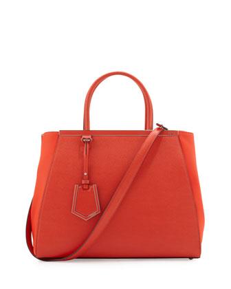 Fendi 2Jours Vitello Elite Medium Tote Bag, Red Orange  - Neiman Marcus