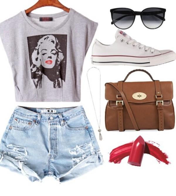shorts blue denim shorts t-shirt grey t-shirt with marilyn monroe sunglasses black sunglasses