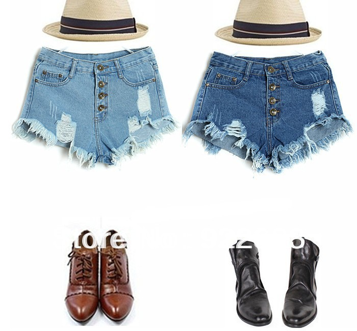 Hot Sale 2014 new women's hole washing ultrashort high waist denim shorts women jeans drop shipping wholesale and retail-in Jeans from Apparel & Accessories on Aliexpress.com