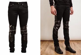 pants black black pants ysl zip biker pants leather yves saint laurent zipped pants