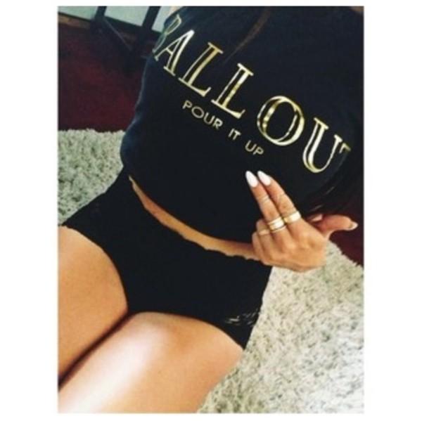 sweater ballout pour it up white nails gold sweatshirt ring shirt rihanna crop tops