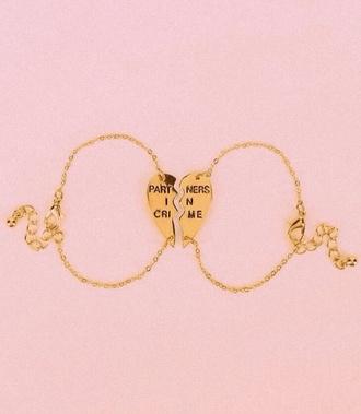 jewels partners in crime bracelets charm bracelet friendship bracelet gold gold bracelet