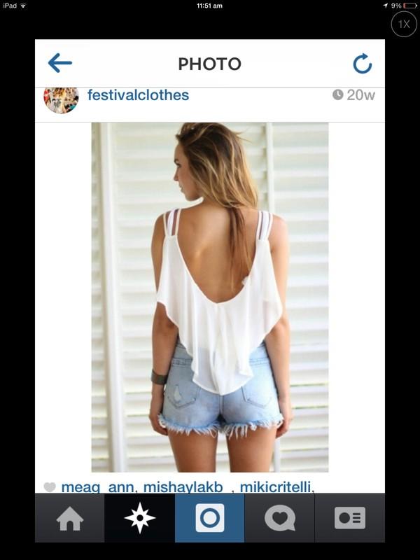 shirt top shorts girl white festival