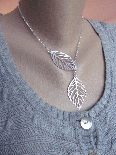 Leaf Necklace Silver Leaves Lariat Fall Wedding Bridesmaid Necklace Lariat | eBay