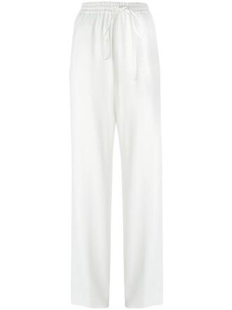 women drawstring white cotton pants