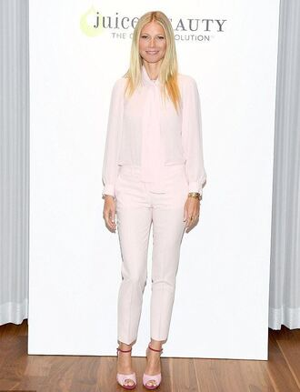 pants blouse sandals gwyneth paltrow baby pink nude shirt