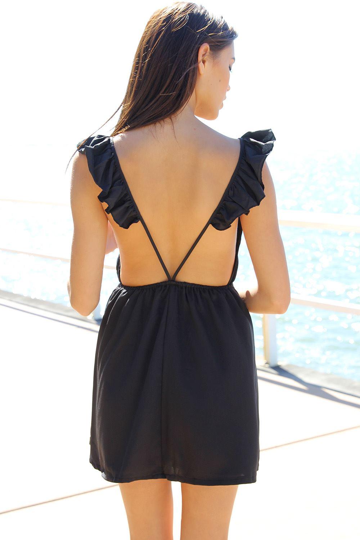 SABO SKIRT  Charlize Frill Dress - Black - Black - 48.0000