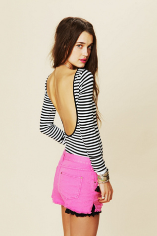 intimately womens striped low back top