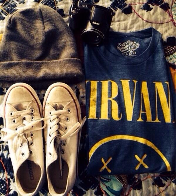 blouse girly hat grunge nirvana 90s style